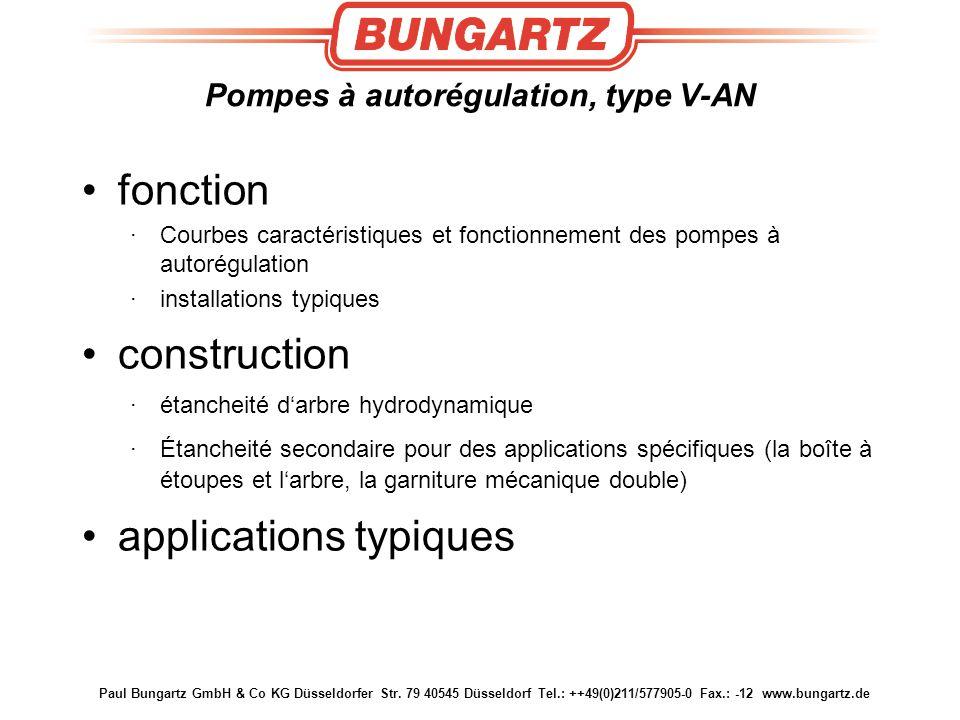 Paul Bungartz GmbH & Co KG Düsseldorfer Str. 79 40545 Düsseldorf Tel.: ++49(0)211/577905-0 Fax.: -12 www.bungartz.de Pompes à autorégulation, type V-A