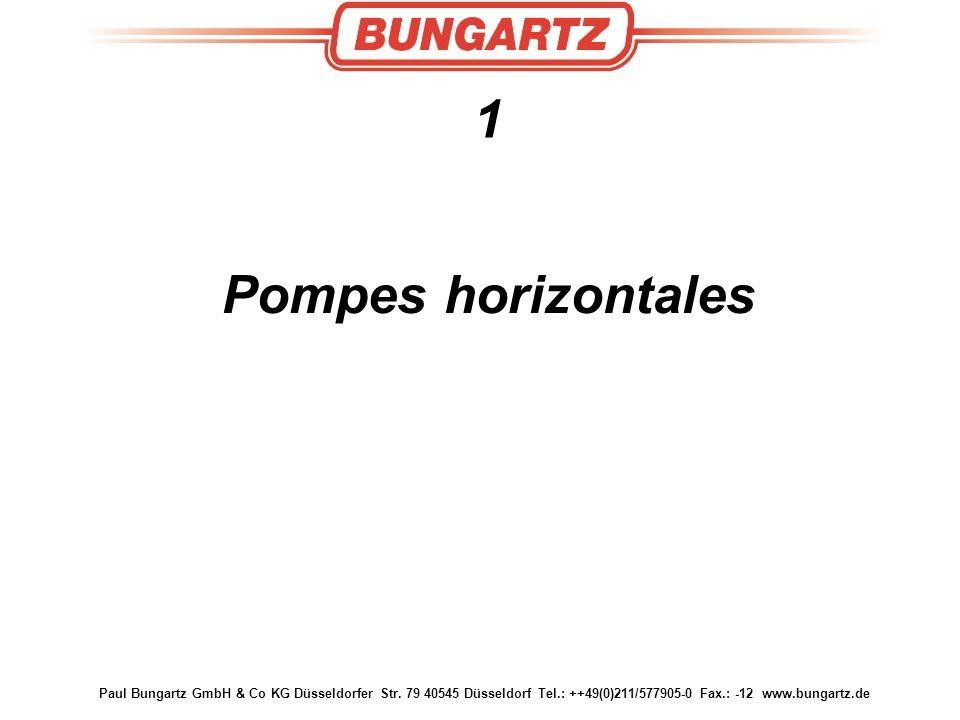 Paul Bungartz GmbH & Co KG Düsseldorfer Str. 79 40545 Düsseldorf Tel.: ++49(0)211/577905-0 Fax.: -12 www.bungartz.de 1 Pompes horizontales