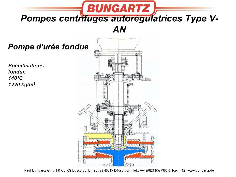 Paul Bungartz GmbH & Co KG Düsseldorfer Str. 79 40545 Düsseldorf Tel.: ++49(0)211/577905-0 Fax.: -12 www.bungartz.de Pompe d'urée fondue Spécification