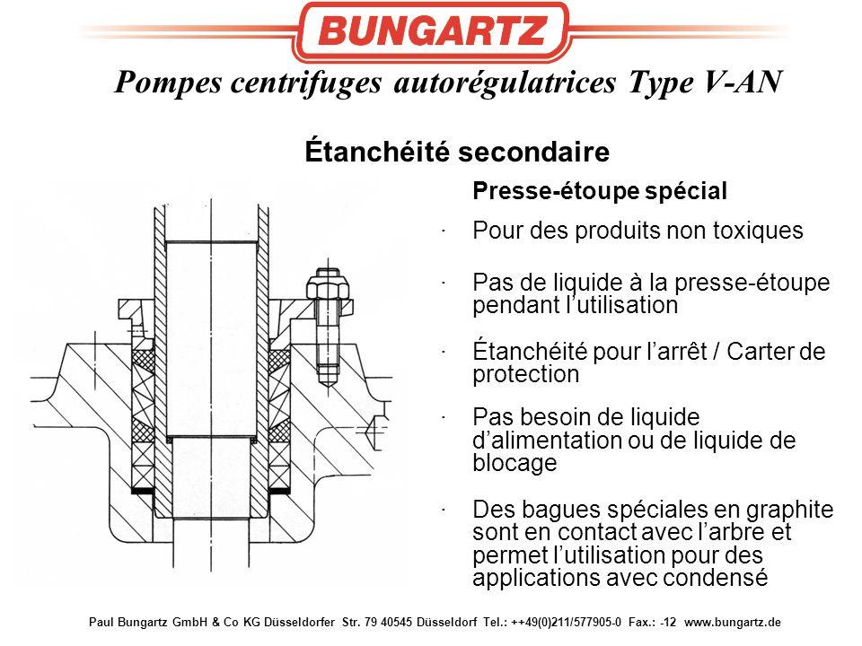 Paul Bungartz GmbH & Co KG Düsseldorfer Str. 79 40545 Düsseldorf Tel.: ++49(0)211/577905-0 Fax.: -12 www.bungartz.de Presse-étoupe spécial ·Pour des p