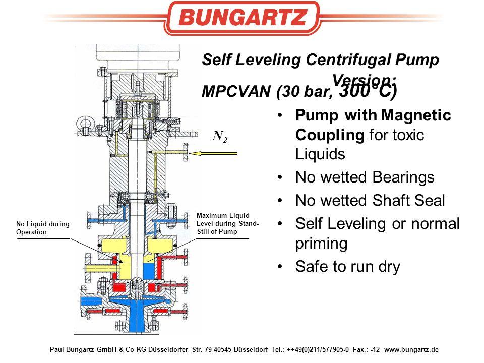 Paul Bungartz GmbH & Co KG Düsseldorfer Str. 79 40545 Düsseldorf Tel.: ++49(0)211/577905-0 Fax.: -12 www.bungartz.de Self Leveling Centrifugal Pump Ve