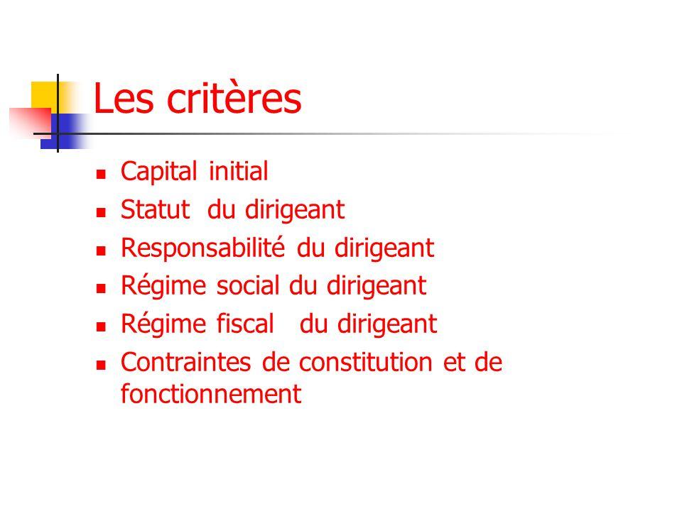 Les critères Capital initial Statut du dirigeant Responsabilité du dirigeant Régime social du dirigeant Régime fiscaldu dirigeant Contraintes de constitution et de fonctionnement