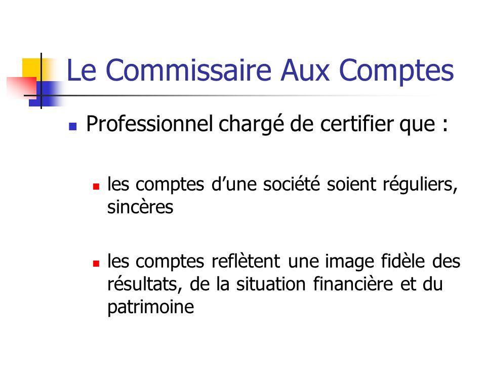 Le Commissaire Aux Comptes Professionnel chargé de certifier que : les comptes d'une société soient réguliers, sincères les comptes reflètent une image fidèle des résultats, de la situation financière et du patrimoine