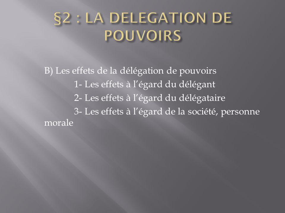 B) Les effets de la délégation de pouvoirs 1- Les effets à l'égard du délégant 2- Les effets à l'égard du délégataire 3- Les effets à l'égard de la so