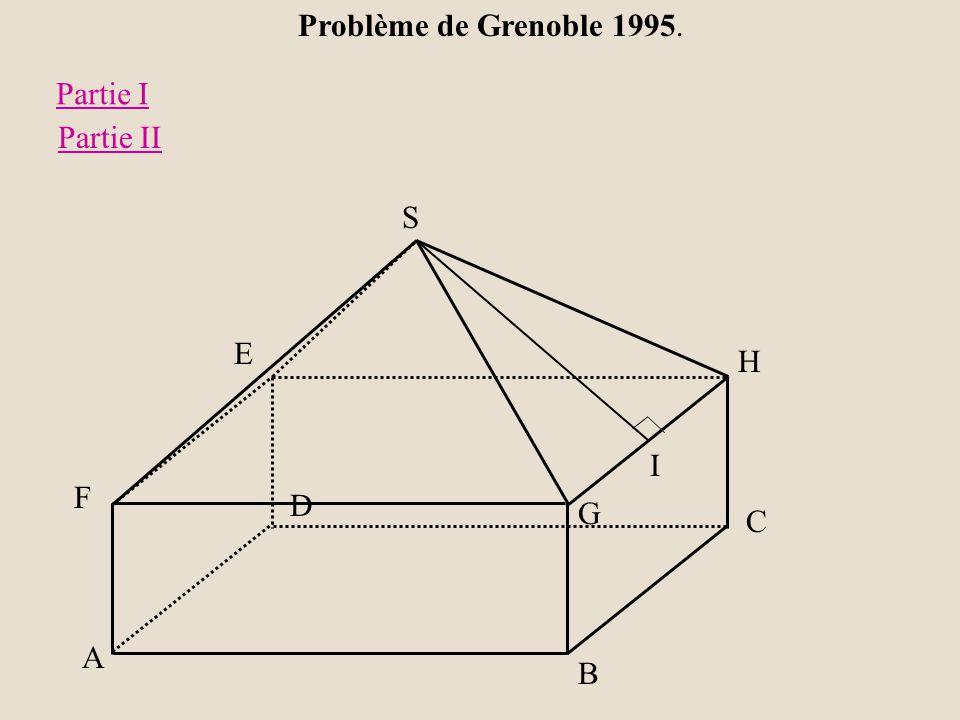 Problème de Grenoble 1995. H G A B C D E F S I Partie I Partie II