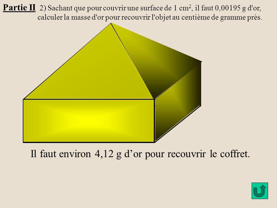 Partie II 2) Sachant que pour couvrir une surface de 1 cm 2, il faut 0,00195 g d'or, calculer la masse d'or pour recouvrir l'objet au centième de gram
