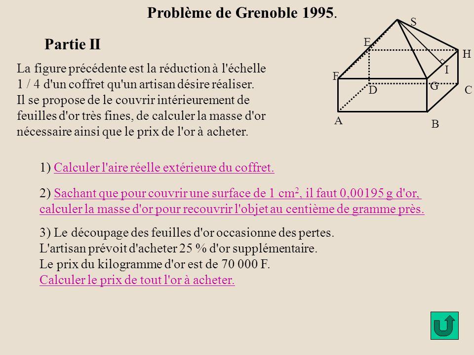 Partie I 3) Montrer que l aire extérieure totale du solide (face inférieure comprise) est de 132 cm 2 D 'après 2) b) l 'aire de SGH est 12 cm².
