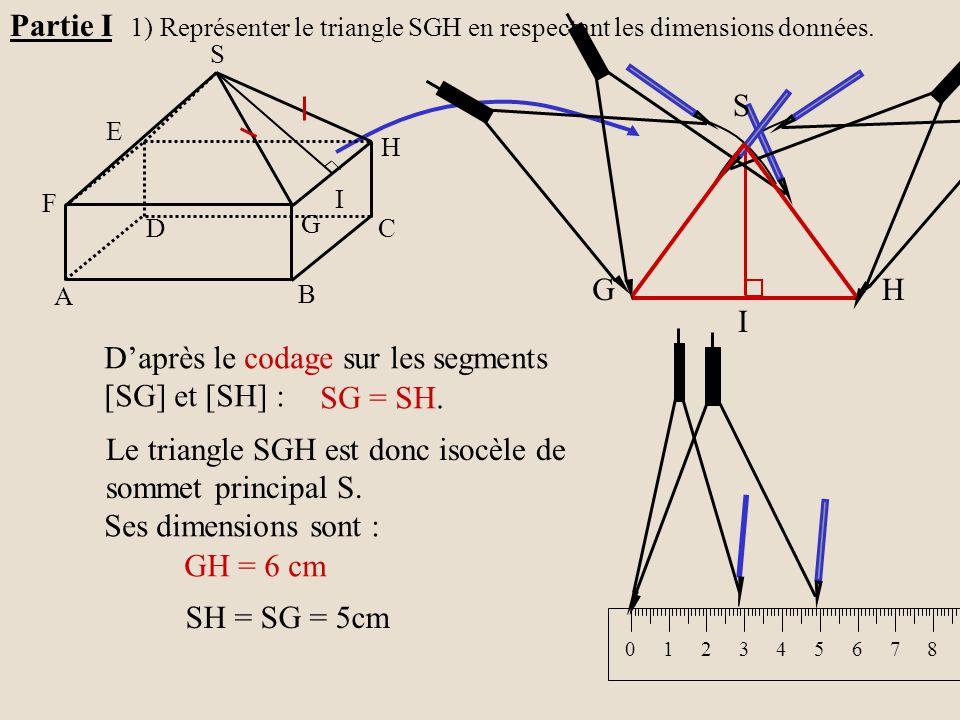 Le triangle SGH est donc isocèle de sommet principal S. D'après le codage sur les segments [SG] et [SH] : SG = SH. Ses dimensions sont : GH = 6 cm SH