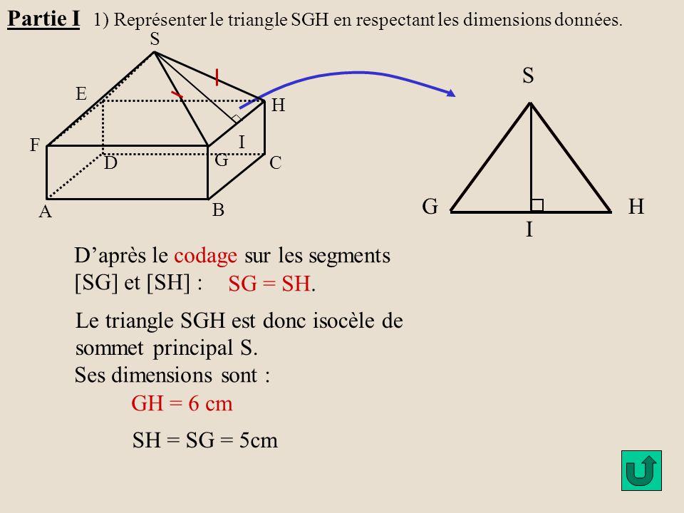 H G A B C D E F S I GH S I Le segment [IS] est la hauteur issue du sommet principal: Partie I 2) a) Calculer la longueur de la hauteur SI du triangle SGH.