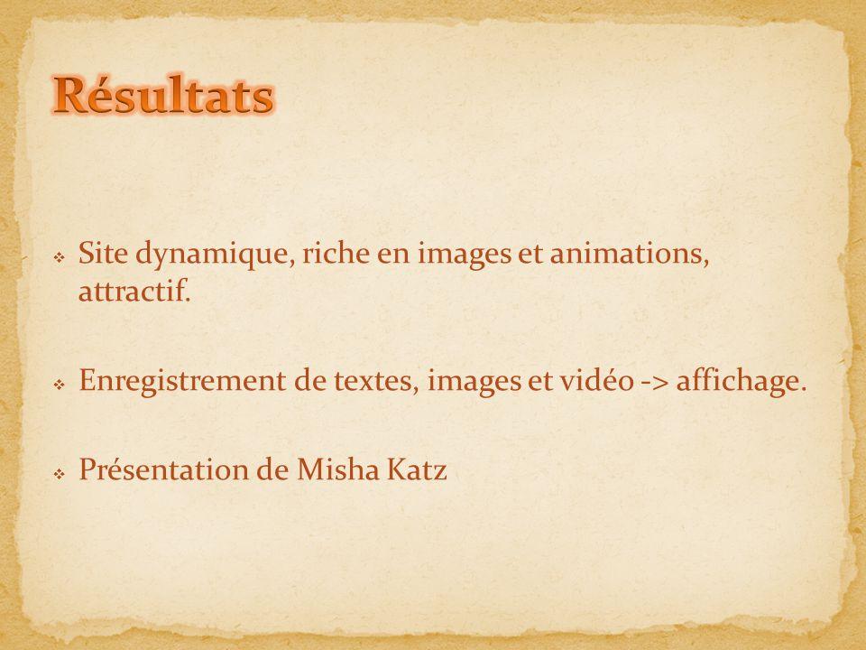  Site dynamique, riche en images et animations, attractif.  Enregistrement de textes, images et vidéo -> affichage.  Présentation de Misha Katz