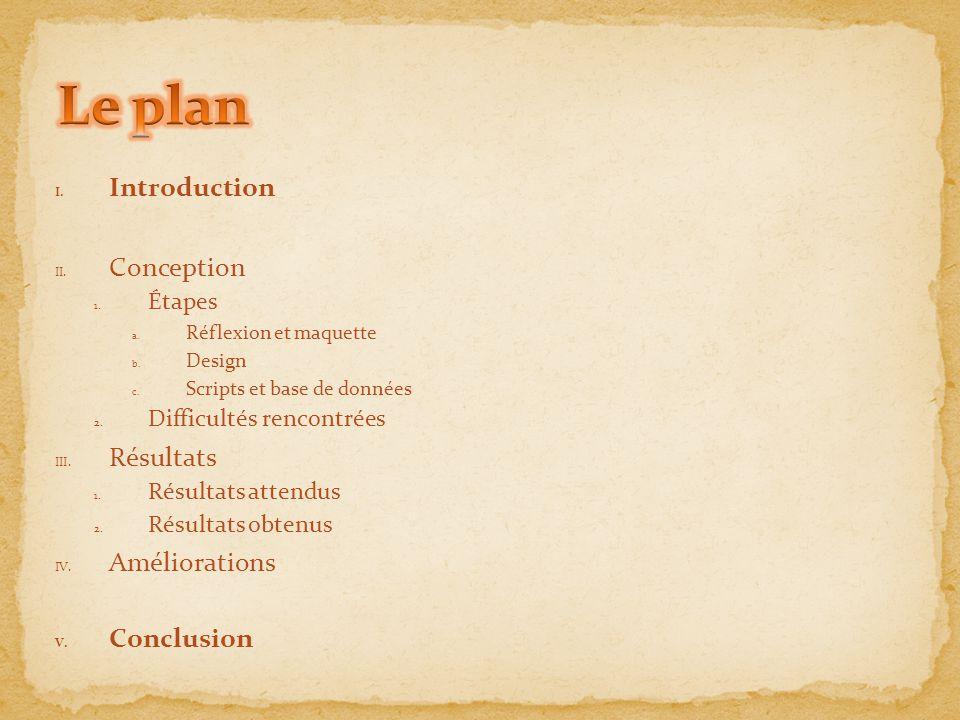 I. Introduction II. Conception 1. Étapes a. Réflexion et maquette b. Design c. Scripts et base de données 2. Difficultés rencontrées III. Résultats 1.