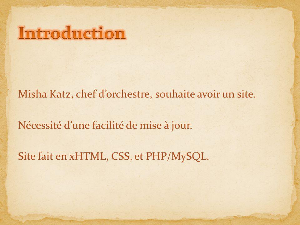 Misha Katz, chef d'orchestre, souhaite avoir un site. Nécessité d'une facilité de mise à jour. Site fait en xHTML, CSS, et PHP/MySQL.