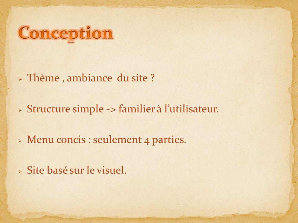  Thème, ambiance du site ?  Structure simple -> familier à l'utilisateur.  Menu concis : seulement 4 parties.  Site basé sur le visuel.
