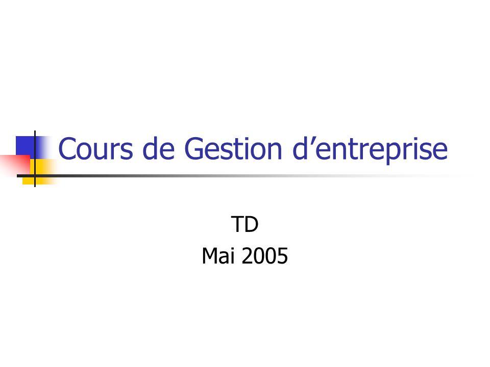 Cours de Gestion d'entreprise TD Mai 2005