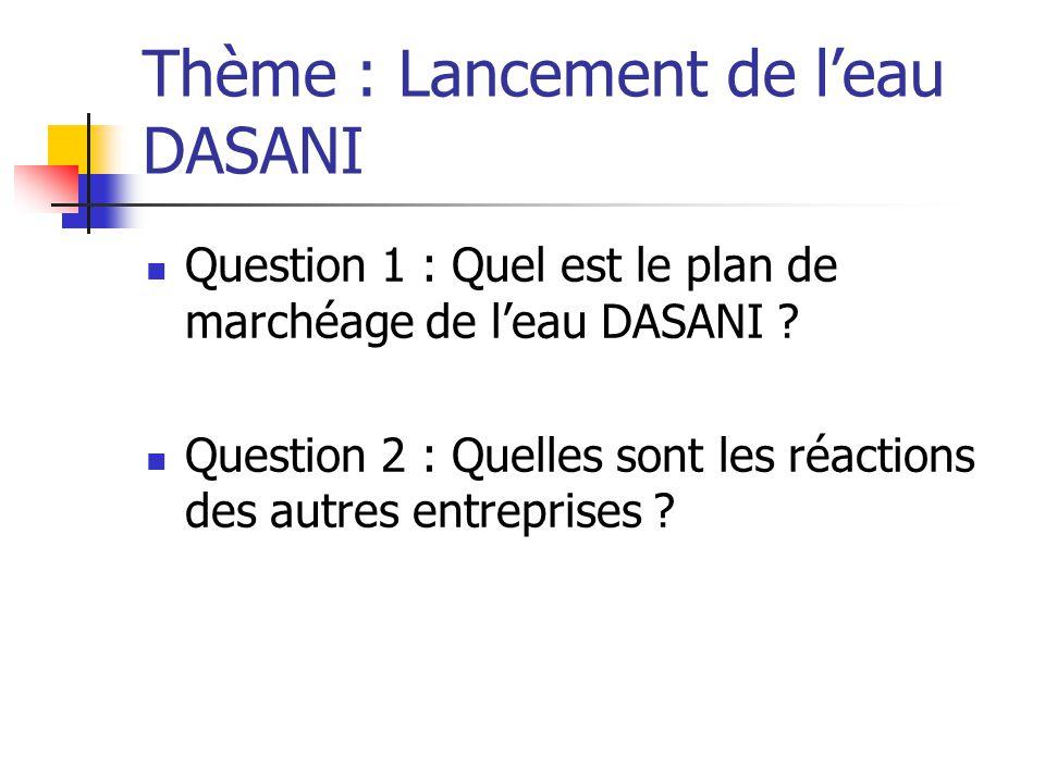 Thème : Lancement de l'eau DASANI Question 1 : Quel est le plan de marchéage de l'eau DASANI .