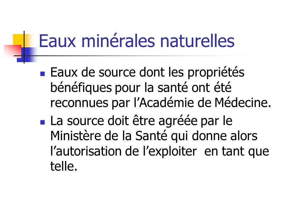 Eaux minérales naturelles Eaux de source dont les propriétés bénéfiques pour la santé ont été reconnues par l'Académie de Médecine.