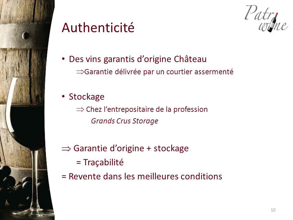Des vins garantis d'origine Château  Garantie délivrée par un courtier assermenté Stockage  Chez l'entrepositaire de la profession Grands Crus Storage  Garantie d'origine + stockage = Traçabilité = Revente dans les meilleures conditions Authenticité 10