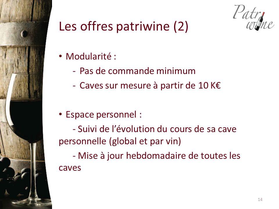 Les offres patriwine (2) Modularité : -Pas de commande minimum -Caves sur mesure à partir de 10 K€ Espace personnel : - Suivi de l'évolution du cours de sa cave personnelle (global et par vin) - Mise à jour hebdomadaire de toutes les caves 14