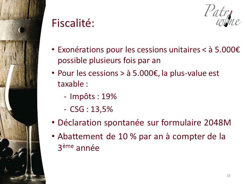 Fiscalité: Exonérations pour les cessions unitaires < à 5.000€ possible plusieurs fois par an Pour les cessions > à 5.000€, la plus-value est taxable : -Impôts : 19% -CSG : 13,5% Déclaration spontanée sur formulaire 2048M Abattement de 10 % par an à compter de la 3 ème année 18
