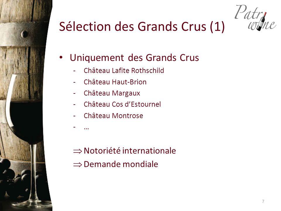 Sélection des Grands Crus (1) Uniquement des Grands Crus -Château Lafite Rothschild -Château Haut-Brion -Château Margaux -Château Cos d'Estournel -Château Montrose -…  Notoriété internationale  Demande mondiale 7