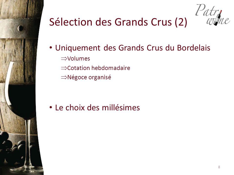 Uniquement des Grands Crus du Bordelais  Volumes  Cotation hebdomadaire  Négoce organisé Le choix des millésimes Sélection des Grands Crus (2) 8