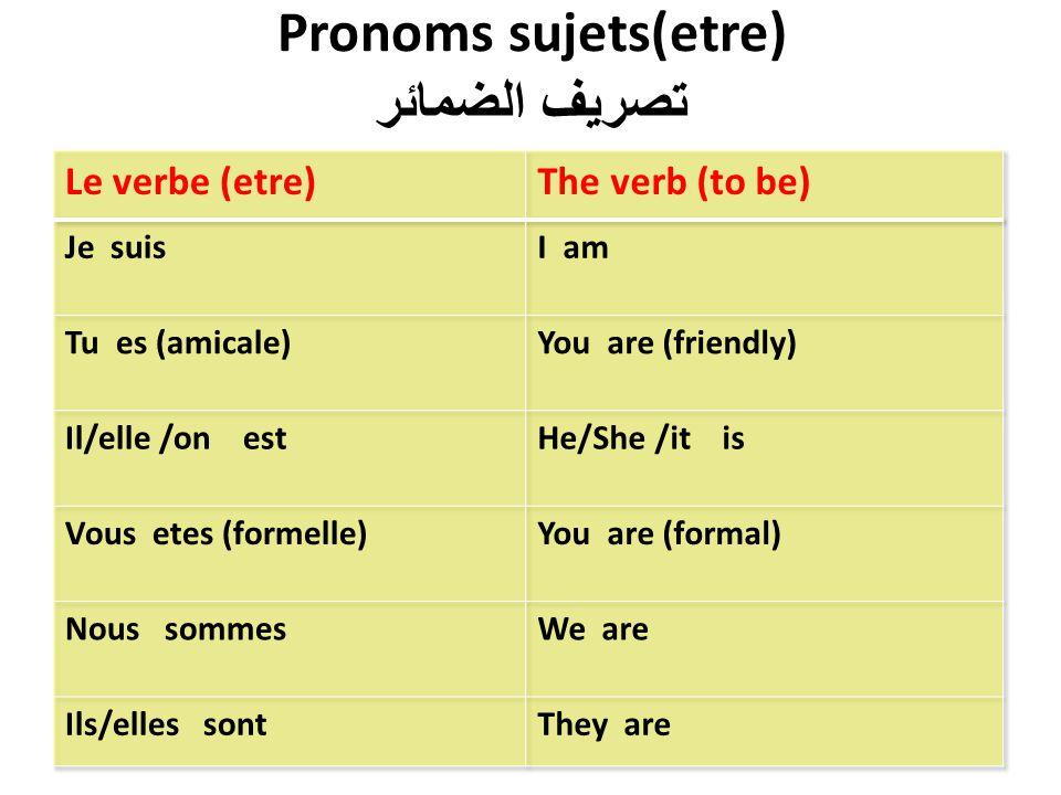 Pronoms sujets(etre) تصريف الضمائر