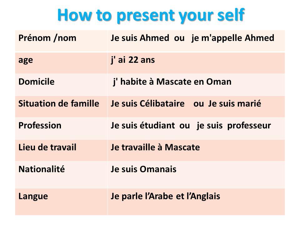 How to present your self Je suis Ahmed ou je m appelle AhmedPrénom /nom 22 ans j aiage j habite à Mascate en OmanDomicile Je suis Célibataire ou Je suis mariéSituation de famille Je suis étudiant ou je suis professeurProfession Je travaille à MascateLieu de travail Je suis OmanaisNationalité Je parle l'Arabe et l'AnglaisLangue