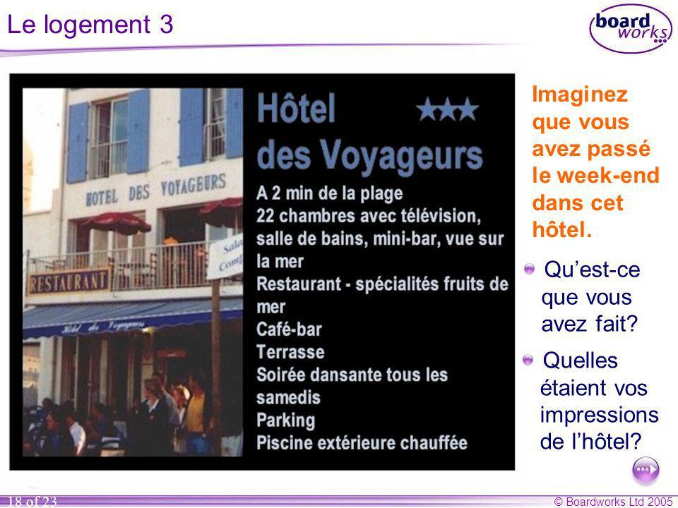 © Boardworks Ltd 2005 18 of 23 Le logement 3 Imaginez que vous avez passé le week-end dans cet hôtel.
