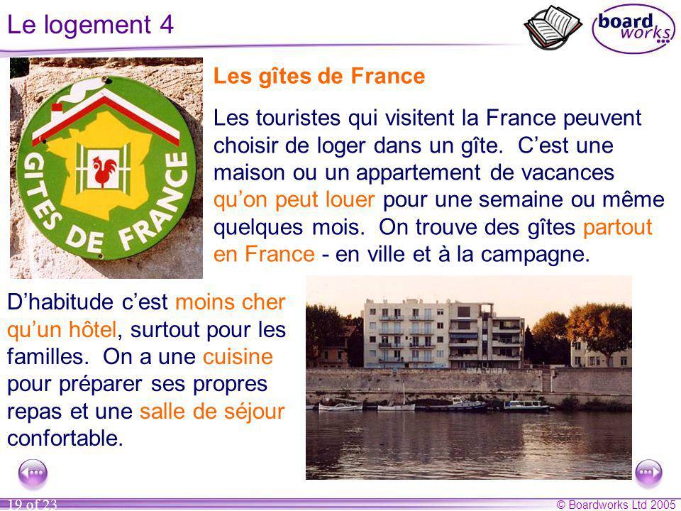 © Boardworks Ltd 2005 19 of 23 Le logement 4 Les gîtes de France Les touristes qui visitent la France peuvent choisir de loger dans un gîte.