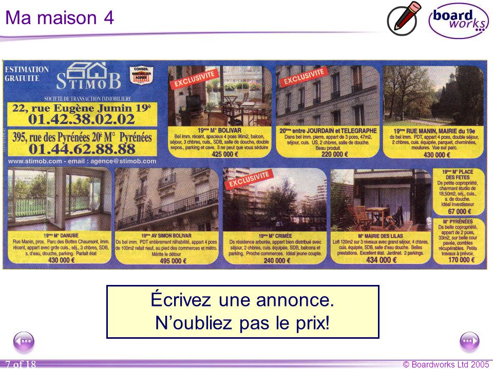 © Boardworks Ltd 2005 8 of 18 Ma maison 5