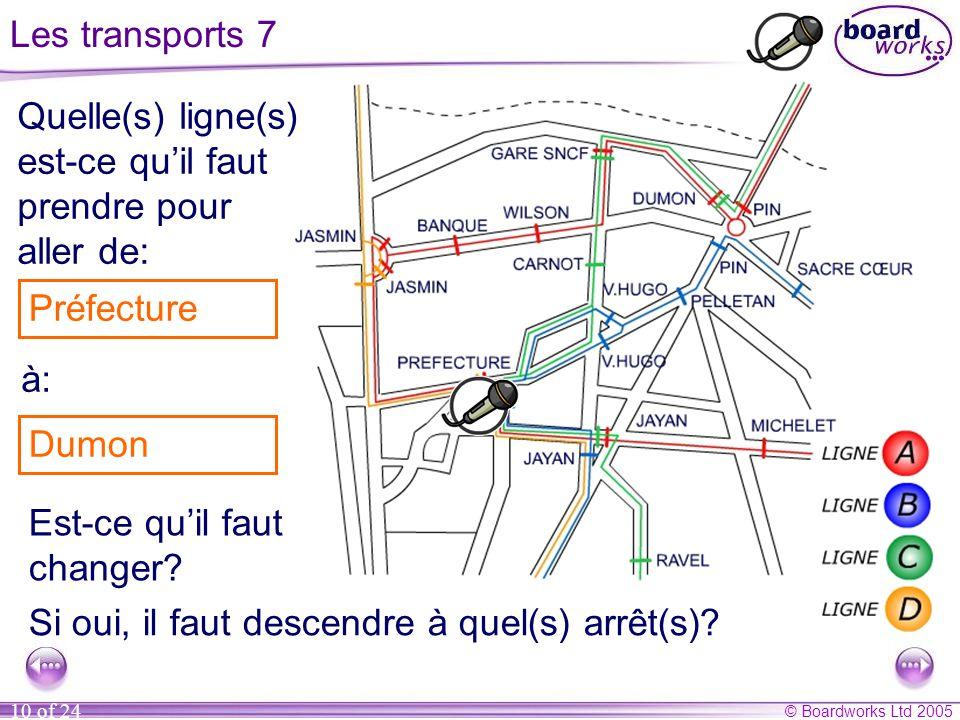 © Boardworks Ltd 2005 10 of 24 Les transports 7 Quelle(s) ligne(s) est-ce qu'il faut prendre pour aller de: à: Michelet Carnot Est-ce qu'il faut chang