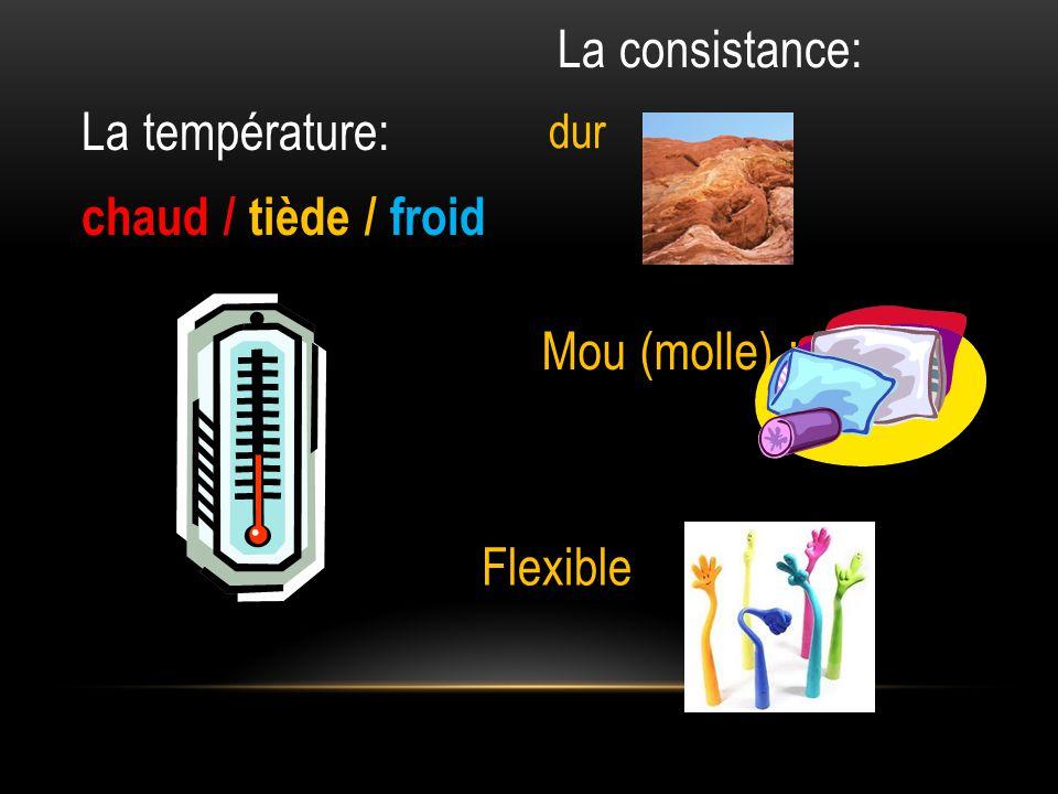 La température: chaud / tiède / froid La consistance: dur Flexible Mou (molle) :