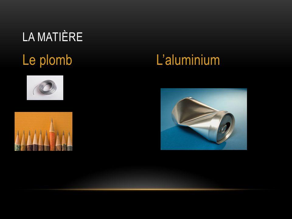 LA MATIÈRE Le plombL'aluminium