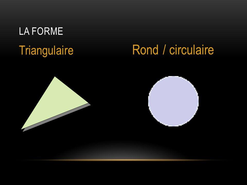 LA FORME Triangulaire Rond / circulaire
