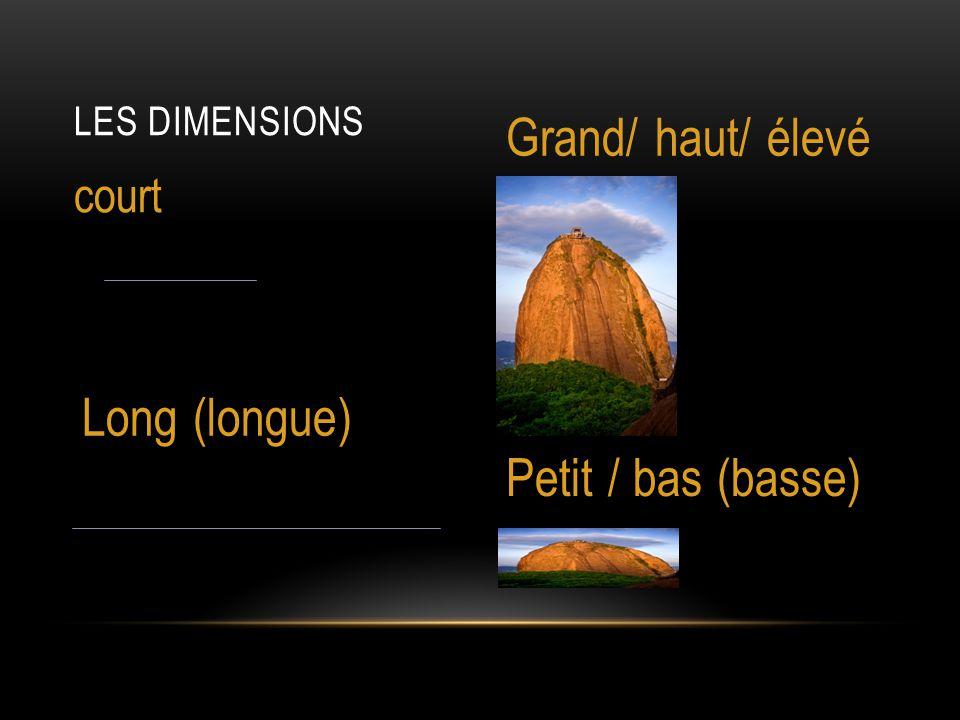 LES DIMENSIONS court Grand/ haut/ élevé Long (longue) Petit / bas (basse)