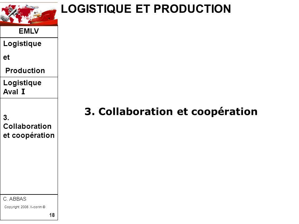 LOGISTIQUE ET PRODUCTION EMLV Logistique et Production Logistique Aval I C. ABBAS Copyright 2006 X-corim © 18 3. Collaboration et coopération 3. Colla