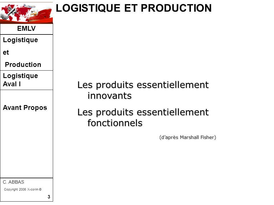 LOGISTIQUE ET PRODUCTION EMLV Logistique et Production Logistique Aval I C. ABBAS Copyright 2006 X-corim © 3 Les produits essentiellement innovants Le