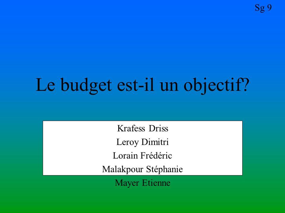 Sg 9 Krafess Driss Leroy Dimitri Lorain Frédéric Malakpour Stéphanie Mayer Etienne Le budget est-il un objectif?