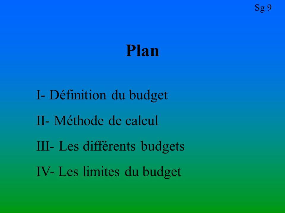 Sg 9 Plan I- Définition du budget II- Méthode de calcul III- Les différents budgets IV- Les limites du budget