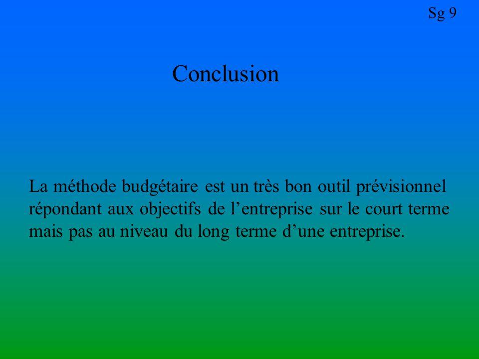 Sg 9 Conclusion La méthode budgétaire est un très bon outil prévisionnel répondant aux objectifs de l'entreprise sur le court terme mais pas au niveau du long terme d'une entreprise.