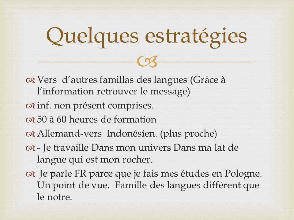   Vers d'autres famillas des langues (Grâce à l'information retrouver le message)  inf. non présent comprises.  50 à 60 heures de formation  Alle