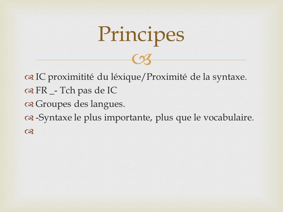   IC proximitité du léxique/Proximité de la syntaxe.  FR _- Tch pas de IC  Groupes des langues.  -Syntaxe le plus importante, plus que le vocabul