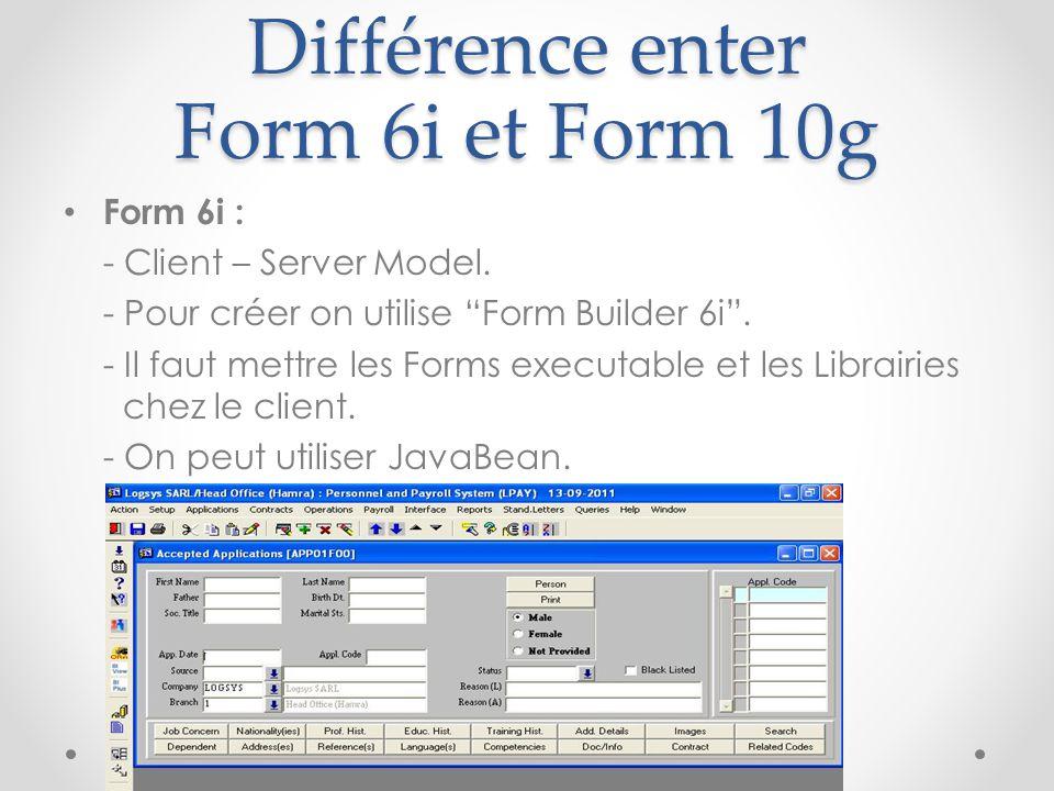"""Différence enter Form 6i et Form 10g Form 6i : - Client – Server Model. - Pour créer on utilise """"Form Builder 6i"""". - Il faut mettre les Forms executab"""