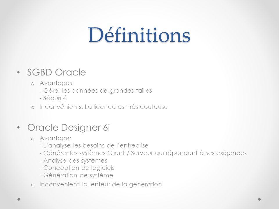 Définitions SGBD Oracle o Avantages: - Gérer les données de grandes tailles - Sécurité o Inconvénients: La licence est très couteuse Oracle Designer 6