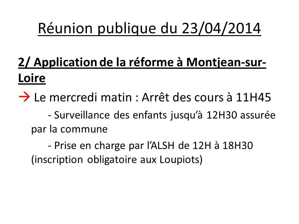 2/ Application de la réforme à Montjean-sur- Loire  Le mercredi matin : Arrêt des cours à 11H45 - Surveillance des enfants jusqu'à 12H30 assurée par la commune - Prise en charge par l'ALSH de 12H à 18H30 (inscription obligatoire aux Loupiots)
