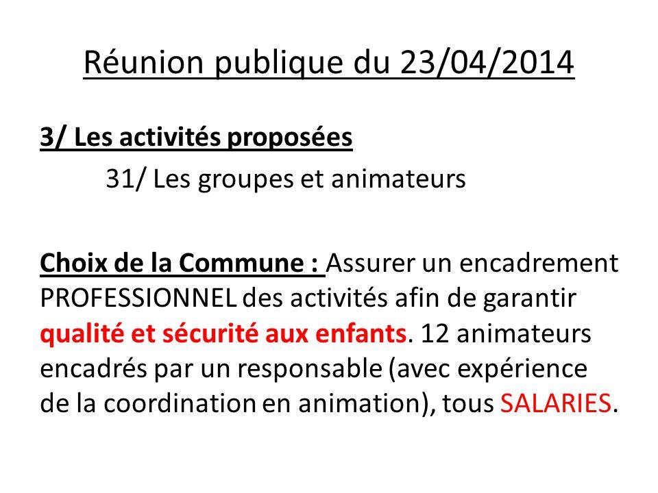 Réunion publique du 23/04/2014 3/ Les activités proposées 31/ Les groupes et animateurs Choix de la Commune : Assurer un encadrement PROFESSIONNEL des activités afin de garantir qualité et sécurité aux enfants.