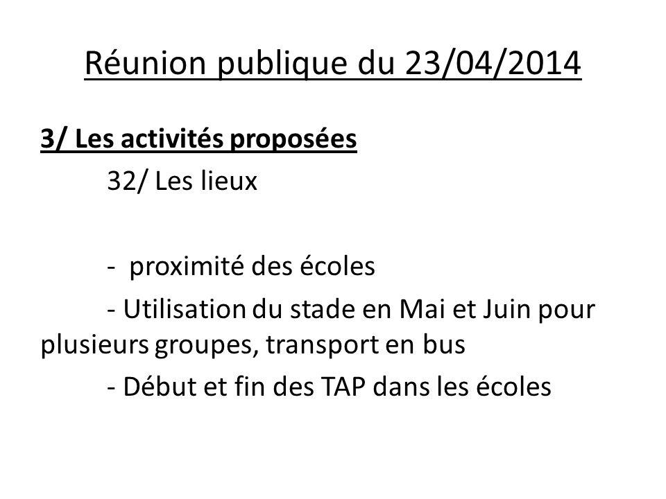 Réunion publique du 23/04/2014 3/ Les activités proposées 32/ Les lieux - proximité des écoles - Utilisation du stade en Mai et Juin pour plusieurs groupes, transport en bus - Début et fin des TAP dans les écoles