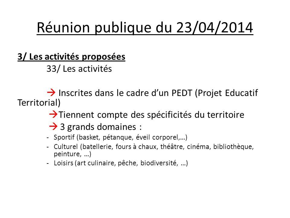 Réunion publique du 23/04/2014 3/ Les activités proposées 33/ Les activités  Inscrites dans le cadre d'un PEDT (Projet Educatif Territorial)  Tienne