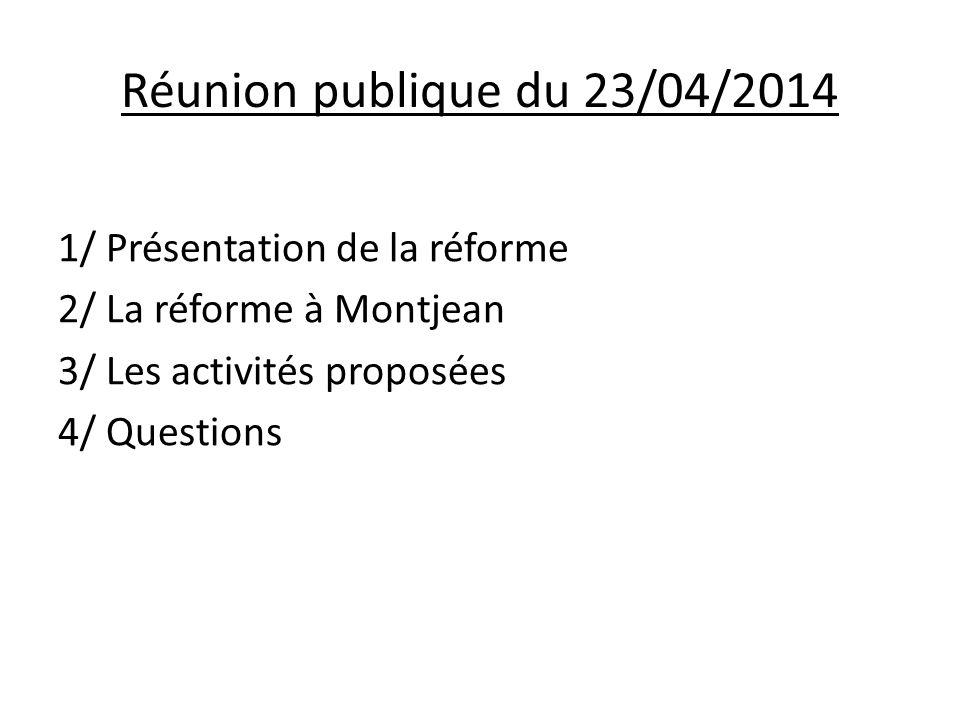 Réunion publique du 23/04/2014 1/ Présentation de la réforme  Un double constat : -Peu de jours d'école en France -Un volume horaire annuel d'enseignement élevé Décret n°2013-77 du 24/01/13