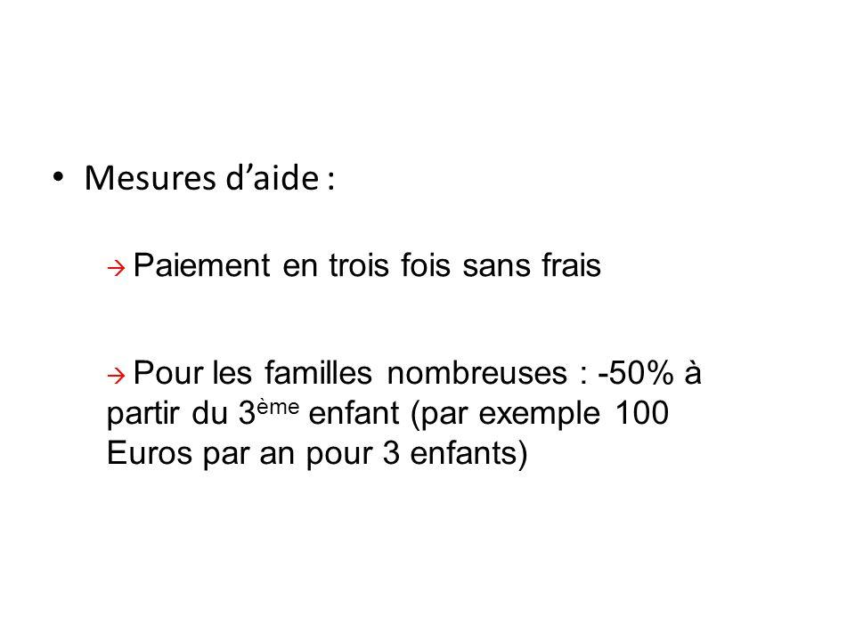 Mesures d'aide :  Paiement en trois fois sans frais  Pour les familles nombreuses : -50% à partir du 3 ème enfant (par exemple 100 Euros par an pour